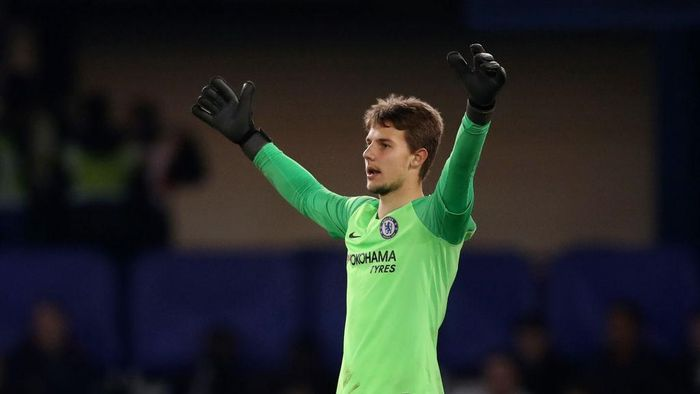 LONDON, ENGLAND - APRIL 15:   Karlo Ziger of Chelsea readuring the Premier League 2 match between Chelsea and Arsenal at Stamford Bridge on April 15, 2019 in London, England. (Photo by Naomi Baker/Getty Images)