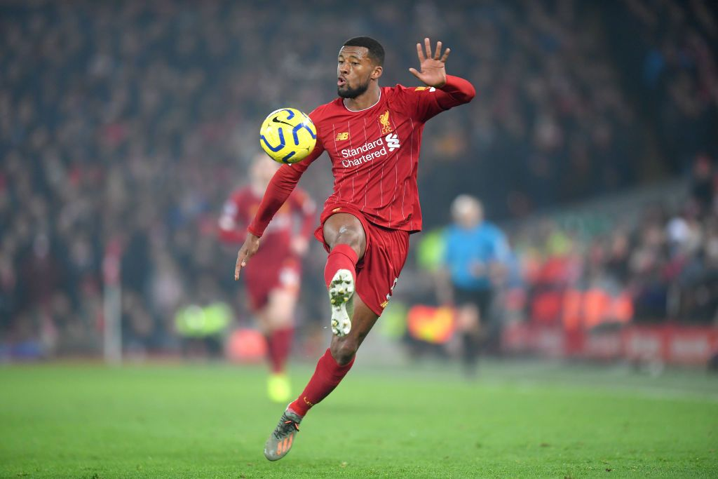 LIVERPOOL, ENGLAND - JANUARY 19: Georginio Wijnaldum of Liverpool controls the ball during the Premier League match between Liverpool FC and Manchester United at Anfield on January 19, 2020 in Liverpool, United Kingdom. (Photo by Michael Regan/Getty Images)