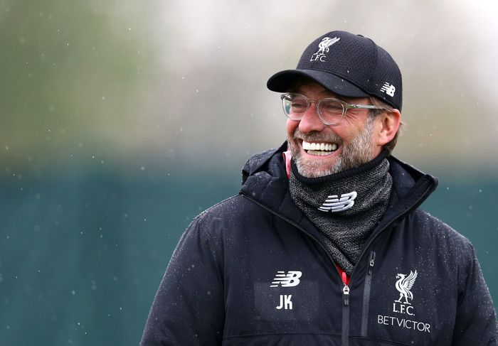 LIVERPOOL, ENGLAND - APRIL 16: Jurgen Klopp, Manager of Liverpool reacts as he watches his team train during the Liverpool training session on the eve of the UEFA Champions League Quarter Final Second Leg match between Liverpool and Porto at Melwood Training Centre on April 16, 2019 in Liverpool, England. (Photo by Jan Kruger/Getty Images)