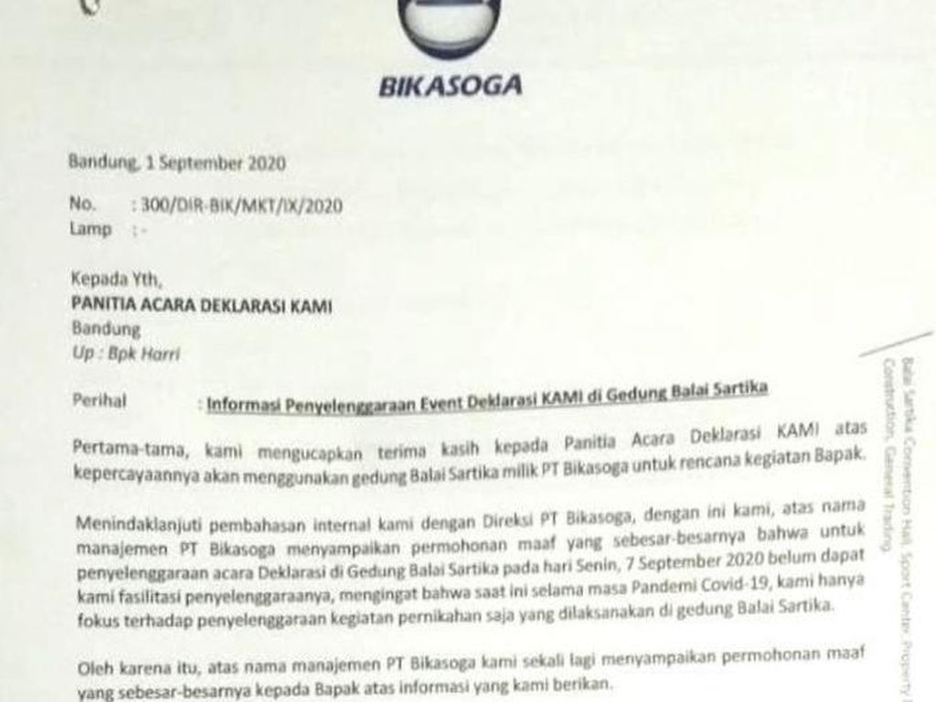 Pandemi Corona, Pengelola Gedung Batalkan Deklarasi KAMI Jabar di Bandung