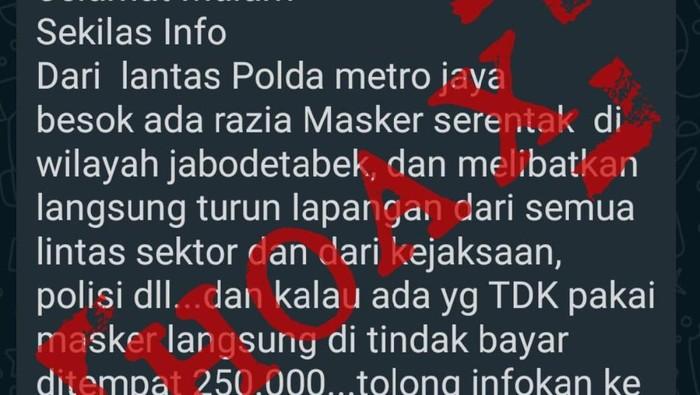 Beredar Isu Tak Pakai Masker Denda Rp 250 Ribu, Polisi: Hoax