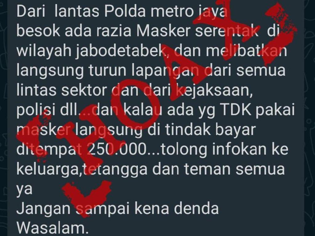 Beredar Info Tak Pakai Masker Didenda Rp 250 Ribu, Polda Metro: Hoax