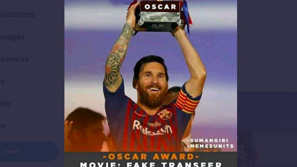 Meme Messi Terima Piala Oscar Gegara Bertahan di Barcelona