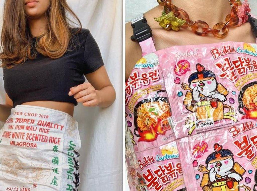Kreatif! Wanita Indonesia Ini Bikin Baju Indomie hingga Rok Karung Beras