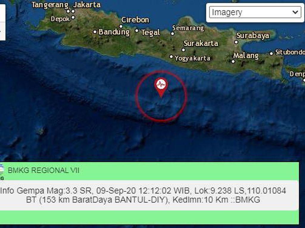Gempa M 3,3 Terjadi di Perairan Bantul