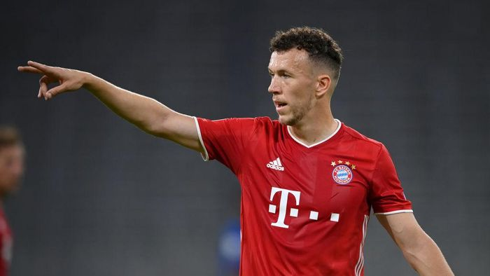 MUNICH, GERMANY - AUGUST 08: Ivan Perisic of FC Bayern München gestures during the UEFA Champions League round of 16 second leg match between FC Bayern Muenchen and Chelsea FC at Allianz Arena on August 08, 2020 in Munich, Germany. (Photo by Matthias Hangst/Getty Images)