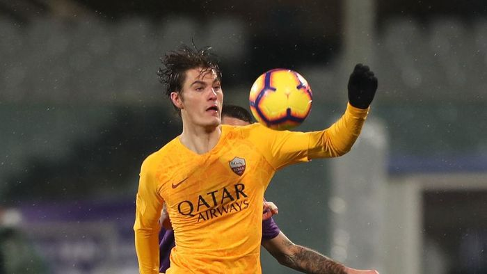 FLORENCE, ITALY - JANUARY 30: Patrick Schick of AS Roma in action during the Coppa Italia match between ACF Fiorentina and AS Roma at Stadio Artemio Franchi on January 30, 2019 in Florence, Italy.  (Photo by Gabriele Maltinti/Getty Images)