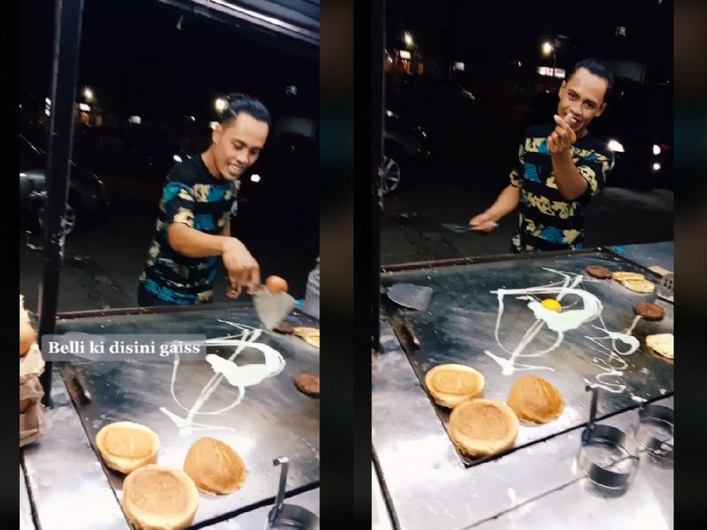 Atraksi Penjual Burger saat Pecahkan Telur Ini Bikin Ngakak