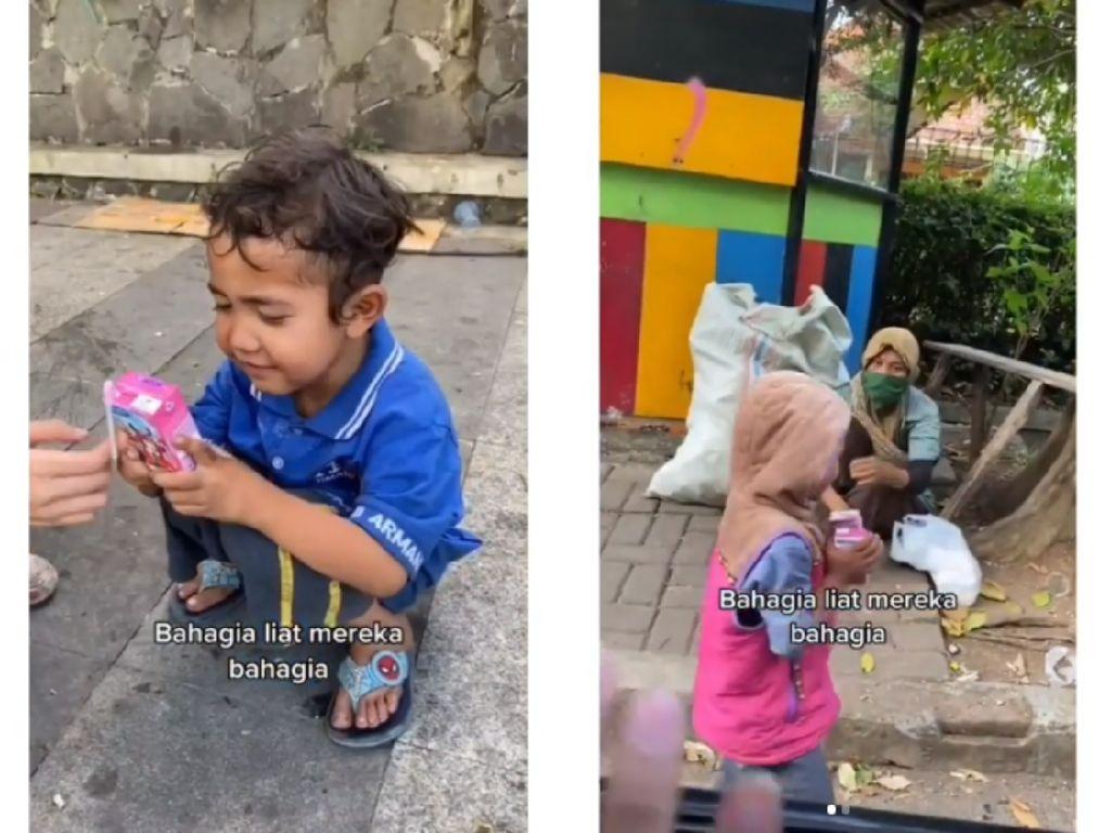 Berbagi Kebahagiaan Netizen Ini Traktir Susu Kotak Anak-anak Pemulung