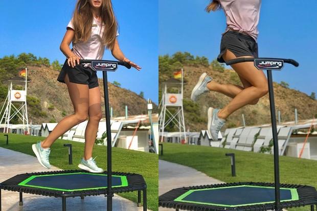 salah satu manfaat olahraga trampolin yaitu membakar lemak lebih cepat sehingga cepat pula menurunkan berat badan