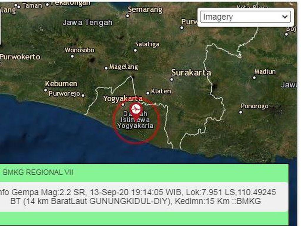Gempa Darat M 2,2 Menggoyang Gunungkidul DIY