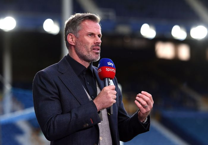 LIVERPOOL, ENGLAND - JUNE 21: Jamie Carragher speaks for Sky Sports after the Premier League match between Everton FC and Liverpool FC at Goodison Park on June 21, 2020 in Liverpool, England. Football Stadiums around Europe remain empty due to the Coronavirus Pandemic as Government social distancing laws prohibit fans inside venues resulting in all fixtures being played behind closed doors. (Photo by Peter Powell/Pool via Getty Images)