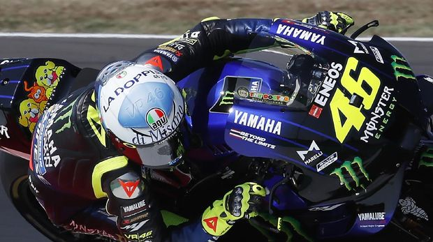 Italy's Valentino Rossi rides his Yamaha during the fourth practice session for Sunday's San Marino Motorcycle Grand Prix at the Misano circuit in Misano Adriatico, Italy, Saturday, Sept. 12, 2020. (AP Photo/Antonio Calanni)