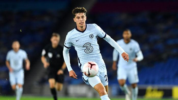 BRIGHTON, ENGLAND - SEPTEMBER 14: Kai Havertz of Chelsea runs with the ball during the Premier League match between Brighton & Hove Albion and Chelsea at American Express Community Stadium on September 14, 2020 in Brighton, England. (Photo by Glyn Kirk/Pool via Getty Images