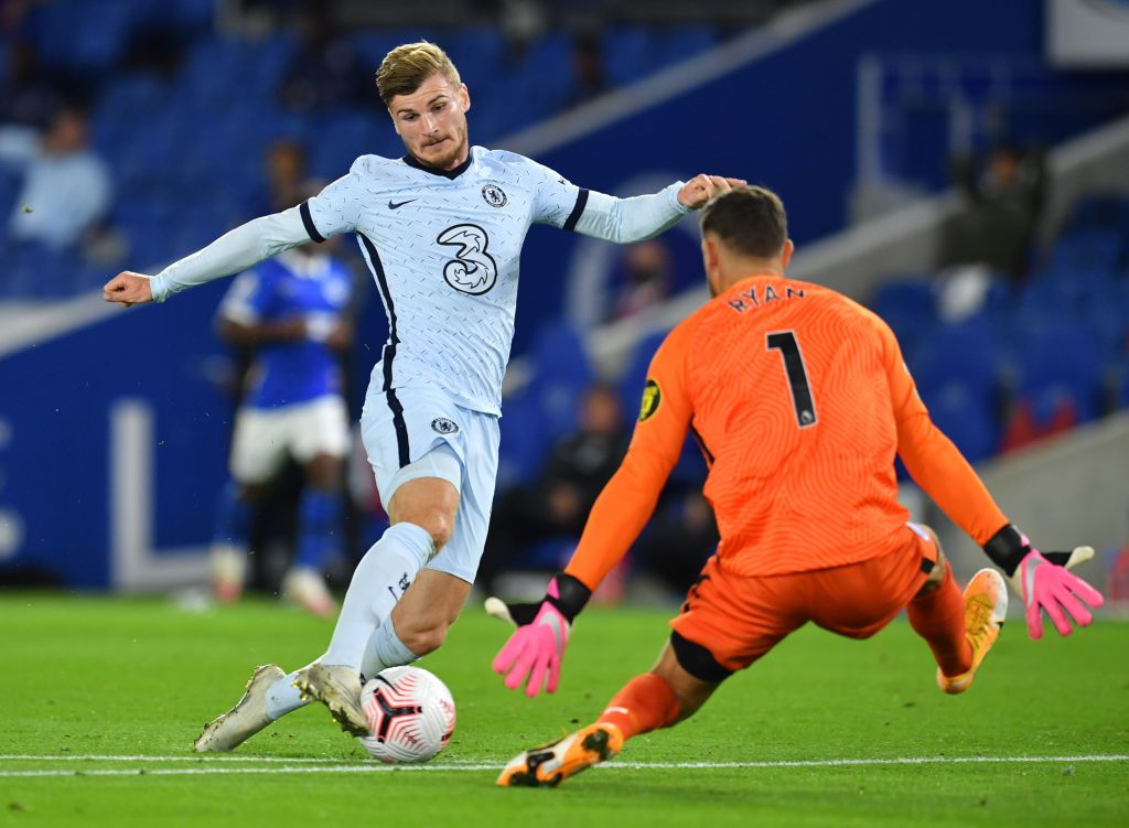 BRIGHTON, ENGLAND - SEPTEMBER 14: Timo Werner of Chelsea in action during the Premier League match between Brighton & Hove Albion and Chelsea at American Express Community Stadium on September 14, 2020 in Brighton, England. (Photo by Richard Heathcote/Getty Images)