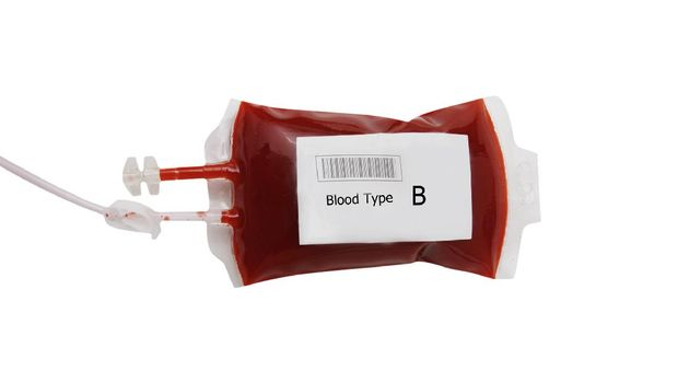 bag of blood and plasma isolated on white background, B