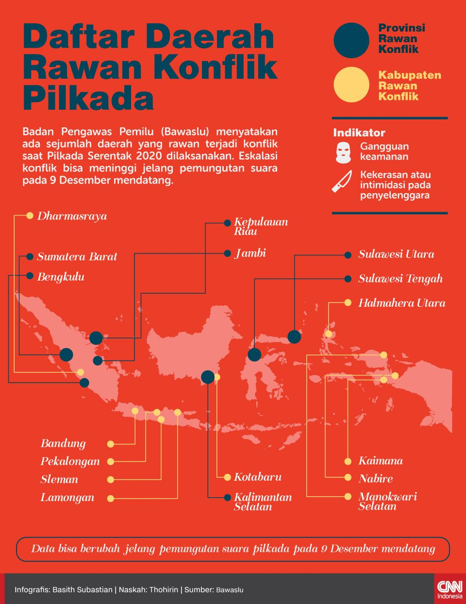 Infografis Daftar Daerah Rawan Konflik Pilkada