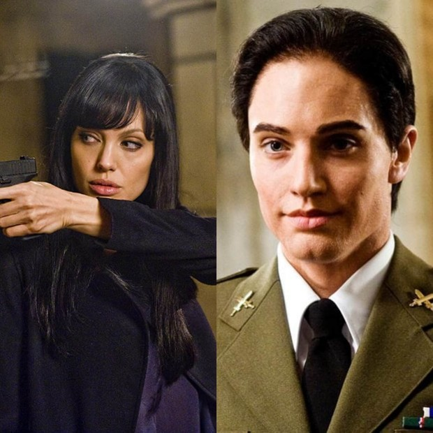 Jolie yang mengubah tampilan layaknya seorang cowok, berperan sebagai agen CIA bernama Evelyn Salt.