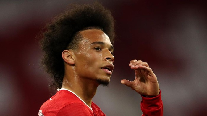 MUNICH, GERMANY - SEPTEMBER 18:  Leroy Sane of Bayern Munich celebrates after he scores his teams seventh goal during the Bundesliga match between FC Bayern Muenchen and FC Schalke 04 at Allianz Arena on September 18, 2020 in Munich, Germany. Fans are set to return to Bundesliga stadiums in Germany despite to the ongoing Coronavirus Pandemic. Up to 20% of stadiums capacity are allowed to be filled. Final decisions are left to local health authorities and are subject to clubs hygiene concepts and the infection numbers in the corresponding region. The match in Munich is played behind closed doors due to the high number of new Covid-19 cases in the city of Munich. (Photo by Alexander Hassenstein/Getty Images)