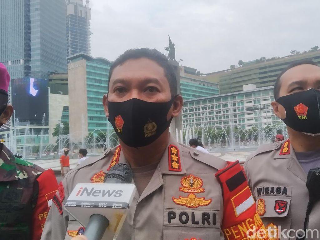 Polisi Klaim Tak Ada Pelanggar Protokol COVID-19 di Bundaran HI Pagi Ini