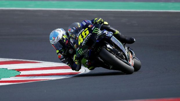 Italy's Valentino Rossi rides his Yamaha during the qualifying session for Sunday's Emilia Romagna Motorcycle Grand Prix at the Misano circuit in Misano Adriatico, Italy, Saturday, Sept. 19, 2020. (AP Photo/Antonio Calanni)