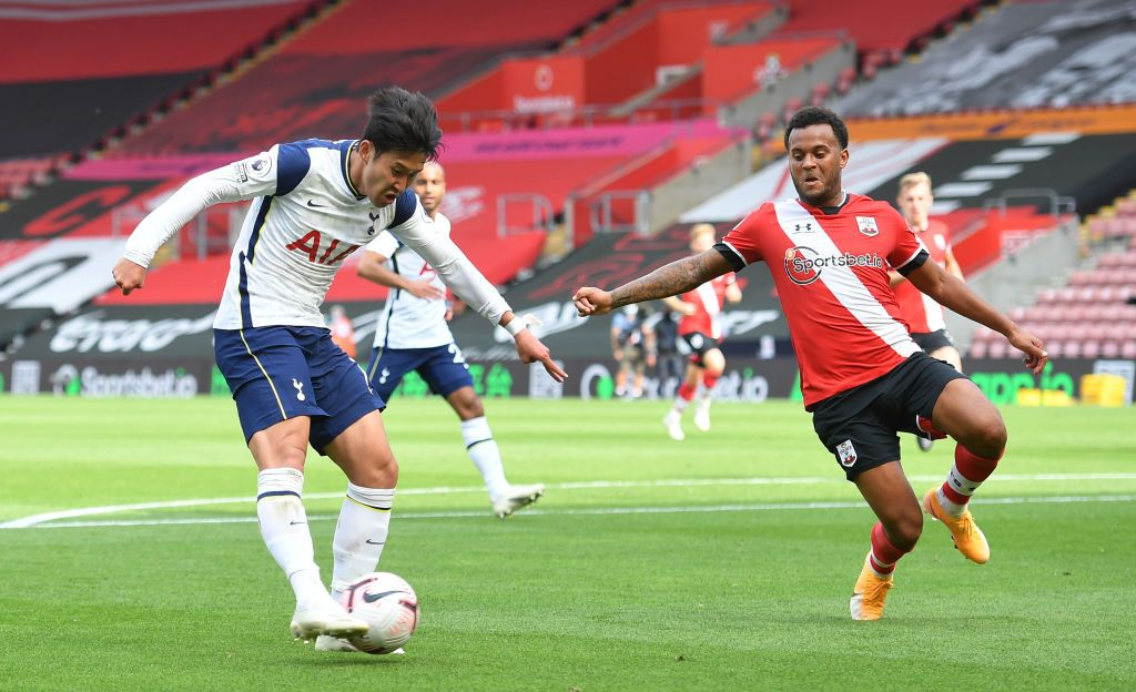 SOUTHAMPTON, ENGLAND - SEPTEMBER 20: Heung-Min Son of Tottenham Hotspur scores his team's first goal during the Premier League match between Southampton and Tottenham Hotspur at St Mary's Stadium on September 20, 2020 in Southampton, England. (Photo by Justin Tallis - Pool/Getty Images)
