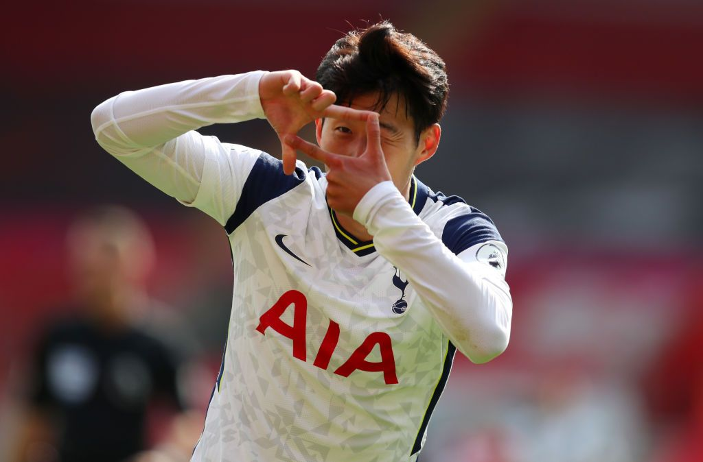 SOUTHAMPTON, ENGLAND - SEPTEMBER 20: Heung-Min Son of Tottenham Hotspur celebrates after scoring his team's second goal during the Premier League match between Southampton and Tottenham Hotspur at St Mary's Stadium on September 20, 2020 in Southampton, England. (Photo by Catherine Ivill/Getty Images)