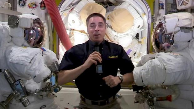 In this video grab captured on Sept. 20, 2020, courtesy of the Academy of Television Arts & Sciences and ABC Entertainment, NASA astronaut Christopher Cassidy speaks from the International Space Station during the 72nd Emmy Awards broadcast. (The Television Academy and ABC Entertainment via AP)