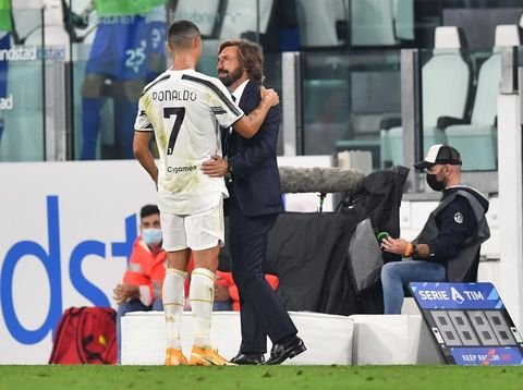 TURIN, ITALY - SEPTEMBER 20:  Cristiano Ronaldo (L) and Juventus head coach Andrea Pirlo celebrate victory at the end of the Serie A match between Juventus and UC Sampdoria at Allianz Stadium on September 20, 2020 in Turin, Italy.   (Photo by Valerio Pennicino/Juventus FC via Getty Images)