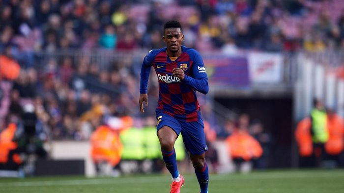 BARCELONA, SPAIN - FEBRUARY 22: Nelson Semedo of FC Barcelona runs during the La Liga match between FC Barcelona and SD Eibar SAD at Camp Nou on February 22, 2020 in Barcelona, Spain. (Photo by Alex Caparros/Getty Images)