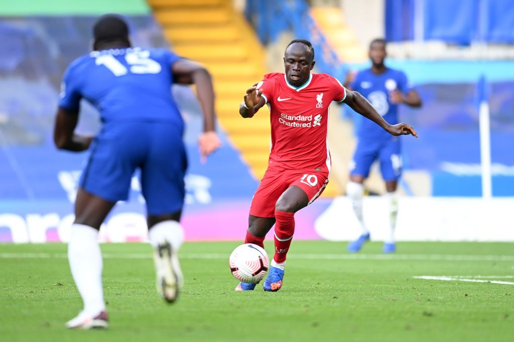 LONDON, ENGLAND - SEPTEMBER 20: Sadio Mane of Liverpool on his way to scoring his team's second goal during the Premier League match between Chelsea and Liverpool at Stamford Bridge on September 20, 2020 in London, England. (Photo by Michael Regan/Getty Images)