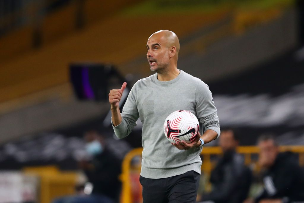 WOLVERHAMPTON, ENGLAND - SEPTEMBER 21: Pep Guardiola, Manager of Manchester City reacts during the Premier League match between Wolverhampton Wanderers and Manchester City at Molineux on September 21, 2020 in Wolverhampton, England. (Photo by Marc Atkins/Getty Images)