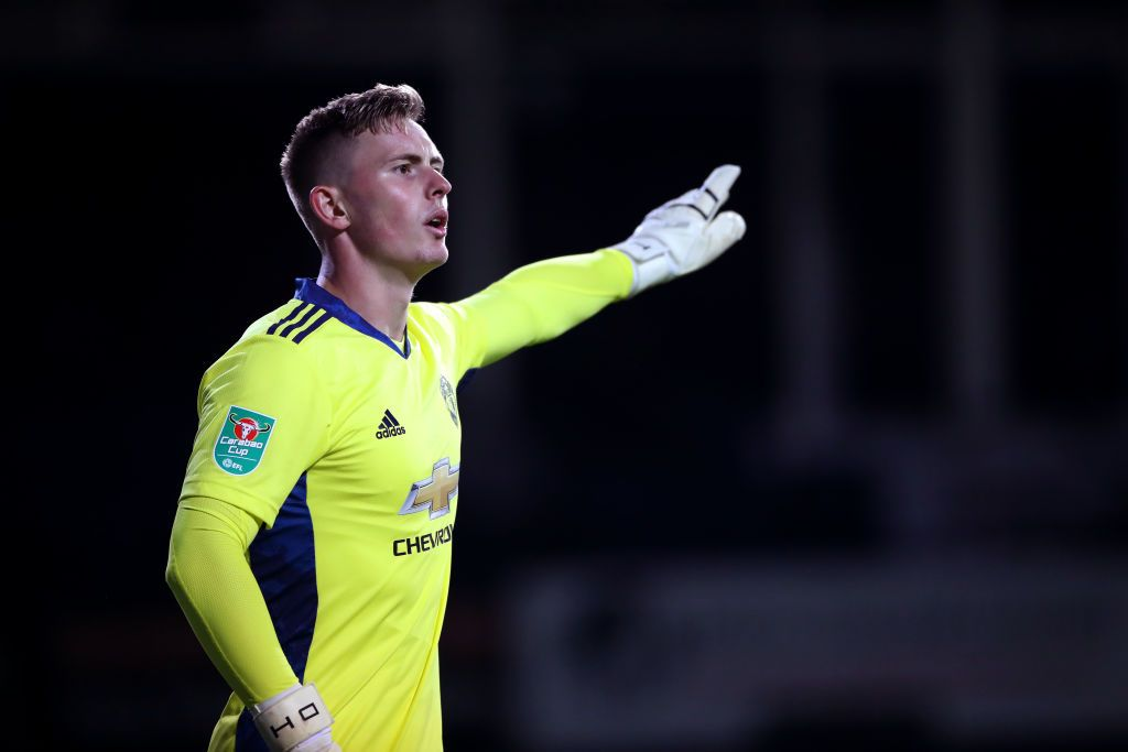 LUTON, ENGLAND - SEPTEMBER 22: Dean Henderson of Manchester United reacts during the Carabao Cup Third Round match between Luton Town and Manchester United at Kenilworth Road on September 22, 2020 in Luton, England. Sporting Stadiums around Europe remain empty due to the Coronavirus Pandemic as Government social distancing laws prohibit fans inside venues resulting in games being played behind closed doors (Photo by Nick Potts - Pool/Getty Images)