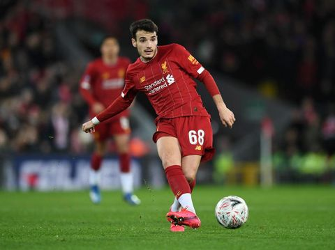 LIVERPOOL, ENGLAND - FEBRUARY 04: Pedro Chirivella of Liverpool during the FA Cup Fourth Round Replay match between Liverpool and Shrewsbury Town at Anfield on February 04, 2020 in Liverpool, England. (Photo by Gareth Copley/Getty Images)