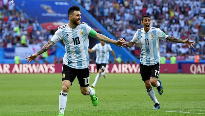 KAZAN, RUSSIA - JUNE 30:  Lionel Messi of Argentina celebrates after teammate Gabriel Mercado scores their teams second goal during the 2018 FIFA World Cup Russia Round of 16 match between France and Argentina at Kazan Arena on June 30, 2018 in Kazan, Russia.  (Photo by Shaun Botterill/Getty Images)