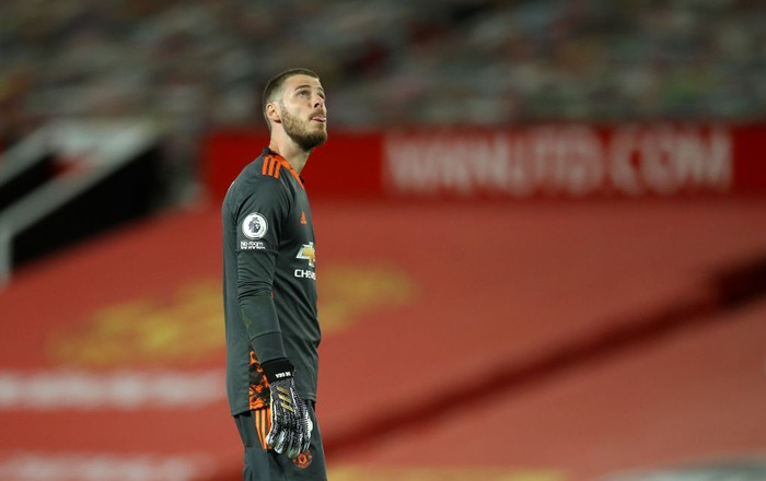 MANCHESTER, ENGLAND - SEPTEMBER 19: David De Gea of Manchester United reacts following the Premier League match between Manchester United and Crystal Palace at Old Trafford on September 19, 2020 in Manchester, England. (Photo by Martin Rickett - Pool/Getty Images)