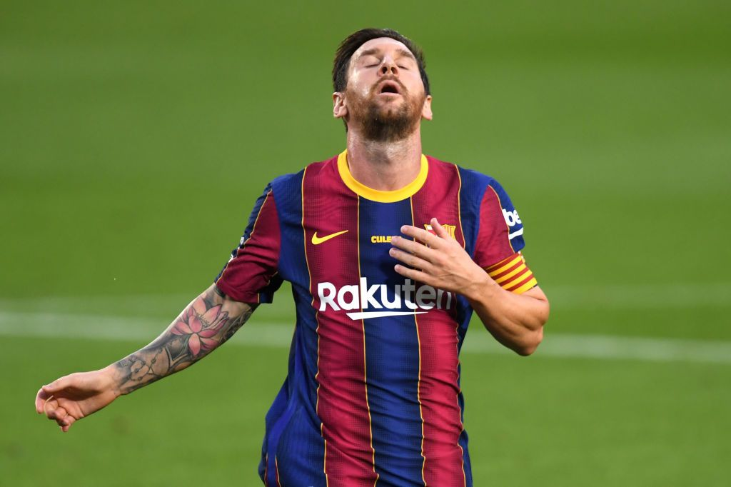 BARCELONA, SPAIN - SEPTEMBER 19: Lionel Messi of FC Barcelona reacts during the Joan Gamper Trophy match between FC Barcelona and Elche CF on September 19, 2020 in Barcelona, Spain. (Photo by Alex Caparros/Getty Images)