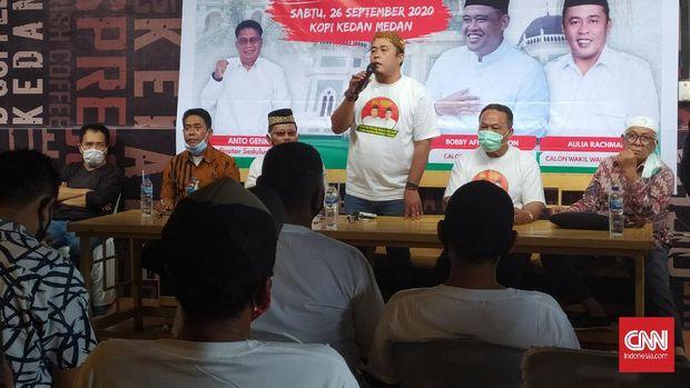 Kubu pasangan Bobby Nasution - Aulia Rachman menggelar acara temu pendukung di hari pertama kampanye Pilkada Kota Medan , Sabtu (26/9).