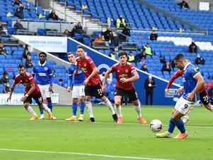 Diwarnai Penalti, Brighton Vs MU 1-1 di Babak Pertama