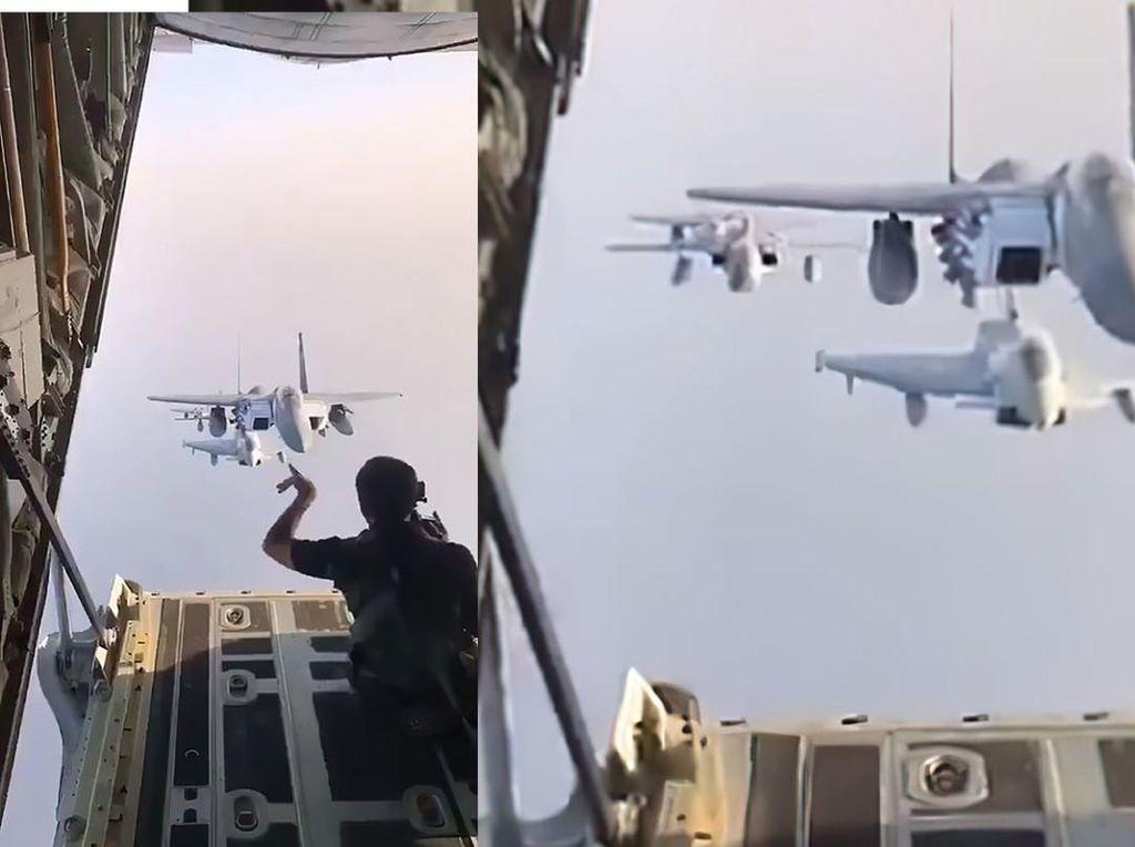 Gini Toh Pemotretan Formasi Pesawat Tempur di Udara