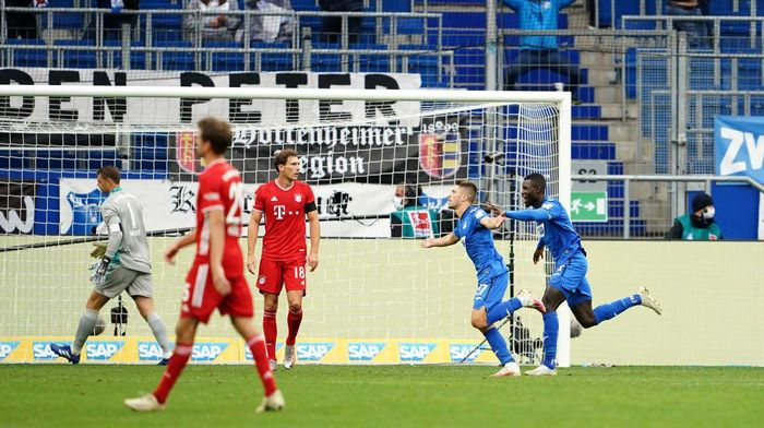 SINSHEIM, GERMANY - SEPTEMBER 27: Andrej Kramaric of TSG 1899 Hoffenheim celebrates after scoring his sides third goal during the Bundesliga match between TSG Hoffenheim and FC Bayern Muenchen at PreZero-Arena on September 27, 2020 in Sinsheim, Germany. A limited number of fans have been let into the stadium as COVID-19 precautions ease in Germany. (Photo by Christian Kaspar-Bartke/Getty Images)
