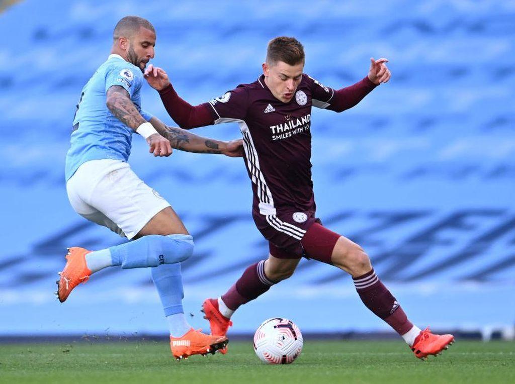 Babak Pertama Man City vs Leicester, Imbang 1-1