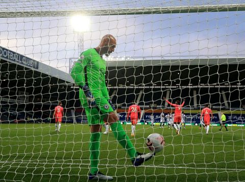 WEST BROMWICH, ENGLAND - SEPTEMBER 26: Willy Caballero of Chelsea looks dejected during the Premier League match between West Bromwich Albion and Chelsea at The Hawthorns on September 26, 2020 in West Bromwich, England. Sporting stadiums around the UK remain under strict restrictions due to the Coronavirus Pandemic as Government social distancing laws prohibit fans inside venues resulting in games being played behind closed doors. (Photo by Nick Potts - Pool/Getty Images)