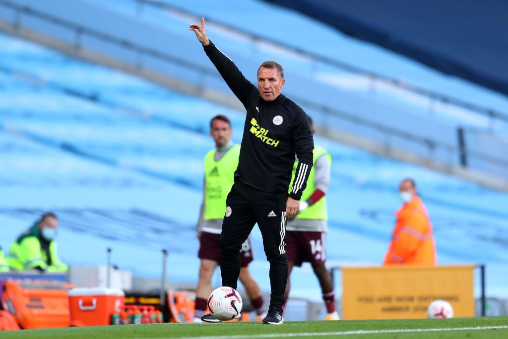 MANCHESTER, ENGLAND - SEPTEMBER 27: Brendan Rodgers, Manager of Leicester City reacts during the Premier League match between Manchester City and Leicester City at Etihad Stadium on September 27, 2020 in Manchester, England. Sporting stadiums around the UK remain under strict restrictions due to the Coronavirus Pandemic as Government social distancing laws prohibit fans inside venues resulting in games being played behind closed doors. (Photo by Catherine Ivill/Getty Images)
