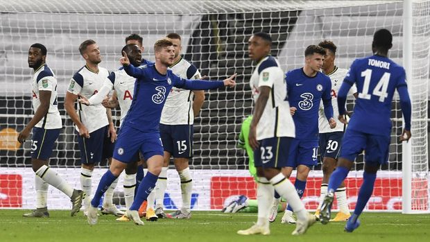 Chelsea's Timo Werner celebrates after scoring his team's first goal during the English League Cup fourth round soccer match between Tottenham Hotspur and Chelsea at Tottenham Hotspur Stadium in London, England, Tuesday, Sept. 29, 2020.(Neil Hall/Pool via AP)