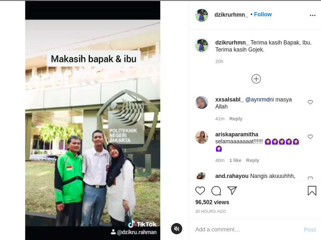 Viral Bikin Haru, Bangganya Putra Driver Ojol Dapat Beasiswa Kuliah Teknik Mesin