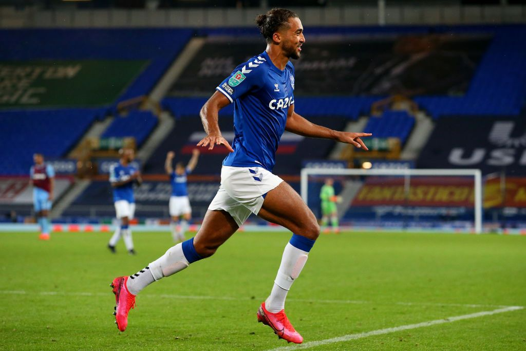 LIVERPOOL, ENGLAND - SEPTEMBER 30: Dominic Calvert-Lewin of Everton celebrates after scoring his sides fourth goal during the Carabao Cup fourth round match between Everton and West Ham United at Goodison Park on September 30, 2020 in Liverpool, England. Football Stadiums around United Kingdom remain empty due to the Coronavirus Pandemic as Government social distancing laws prohibit fans inside venues resulting in fixtures being played behind closed doors. (Photo by Alex Livesey/Getty Images)