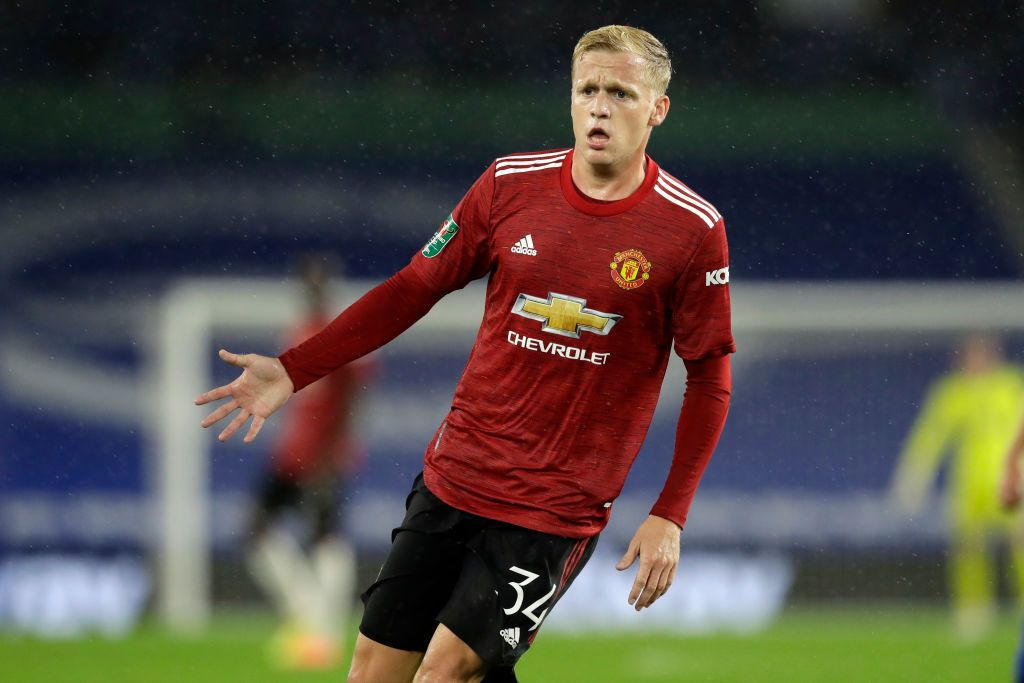 BRIGHTON, ENGLAND - SEPTEMBER 30: Donny Van De Beek of Manchester United reacts during the Carabao Cup fourth round match between Brighton and Hove Albion and Manchester United at Amex Stadium on September 30, 2020 in Brighton, England. Football Stadiums around United Kingdom remain empty due to the Coronavirus Pandemic as Government social distancing laws prohibit fans inside venues resulting in fixtures being played behind closed doors. (Photo by Matt Dunham - Pool/Getty Images)