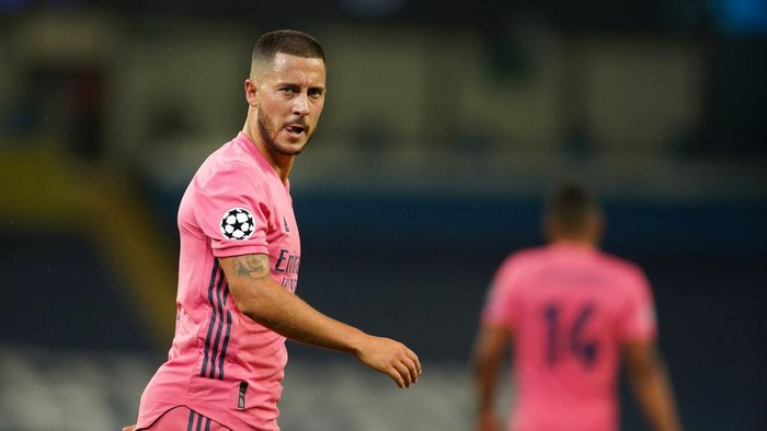 MANCHESTER, ENGLAND - AUGUST 07: Eden Hazard of Real Madrid reacts during the UEFA Champions League round of 16 second leg match between Manchester City and Real Madrid at Etihad Stadium on August 07, 2020 in Manchester, England. (Photo by Dave Thompson/Pool via Getty Images)