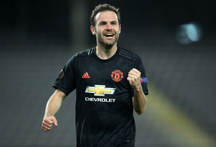 LINZ, AUSTRIA - MARCH 12: (FREE FOR EDITORIAL USE) In this handout image provided by UEFA, Juan Mata of Manchester United celebrates after scoring his team's third goal during the UEFA Europa League round of 16 first leg match between LASK and Manchester United at Linzer Stadion on March 12, 2020 in Linz, Austria. The match is played behind closed doors as a precaution against the spread of COVID-19 (Coronavirus).  (Photo by UEFA - Handout/UEFA via Getty Images )